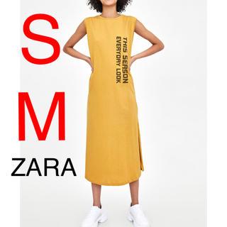 ZARA - ZARA ワンピース Tシャツ Tシャツワンピース ロゴ テキスト入り
