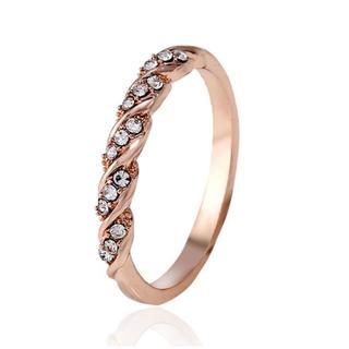 【新品】指輪 デザインリング キュービックジルコニア ローズゴールド 19号(リング(指輪))