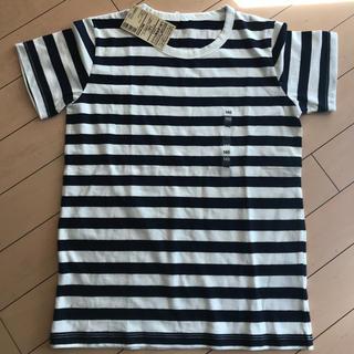 MUJI (無印良品) - 【新品】無印 しましま半袖Tシャツ ネイビー 140サイズ