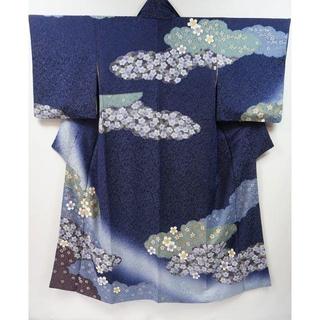 クリーニング済 正絹 訪問着 紺 瑠璃色 004 キモノリワ(着物)