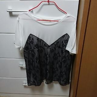 しまむら - 大きいサイズ 半袖レースTシャツ
