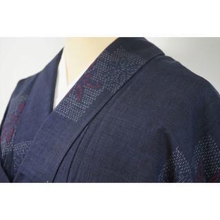 単衣 手織り紬 正絹 小紋 紺色 ネイビー 008 キモノリワ(着物)