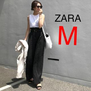 ZARA - ザラ ザラジョ ベルト付きリネンパンツ ブラック 黒
