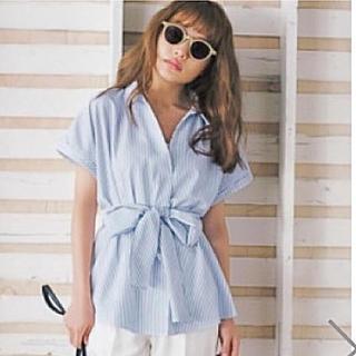グレイル(GRL)の新品 GRL グレイル ウエストリボンストライプスシャツ(シャツ/ブラウス(半袖/袖なし))