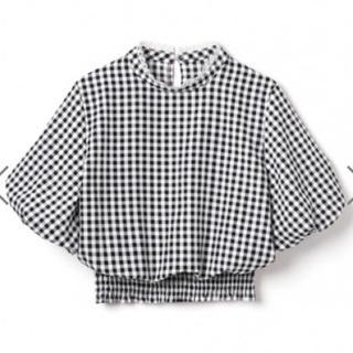グレイル(GRL)の新品 GRL ギンガムチェックネックフリルボリュームスリーブトップス2018新作(シャツ/ブラウス(半袖/袖なし))