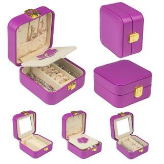 ジュエリーケース 旅行 ボックス 鏡付き 携帯用 (その他)