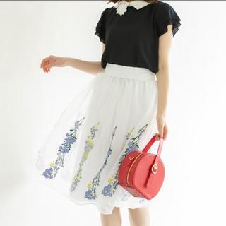 トッコ(tocco)の新品トッコクローゼット★刺繍オーガンジースカート(ひざ丈スカート)