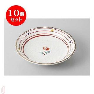 10個セット 組皿 粉引赤絵小花4.0皿 [14 x 2.5cm] 【料亭(食器)
