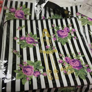 アナスイ(ANNA SUI)のANNA SUI アナスイ エコバッグ ポーチ ストライプ 紫の薔薇 バッグ(エコバッグ)