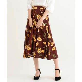 アメリエルマジェスティックレゴン(amelier MAJESTIC LEGON)の美品 中花柄ミモレスカート(ひざ丈スカート)