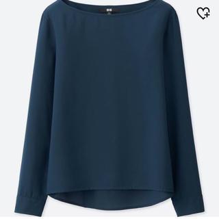 UNIQLO - 新品♡UNIQLO♡レーヨンエアリーTブラウス♡ネイビー♡soulberry