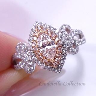 第三章◆Pt900天然ダイヤモンド★ピンクダイヤ★マーキスお姫様リング(リング(指輪))