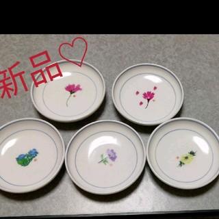 ❮新品,未使用❯花絵変わり小皿 5枚セット(食器)