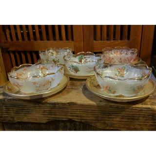光琳絵 ミニデザートセット ファンシークラフトグラス 5客セット 未使用 箱あり(食器)