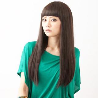 ぱっつん 前髪 フルウィッグロングストレート(ロングストレート)