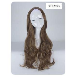 KU140 ネット付き♡新品美髪ウィッグ*ゆるカールロング*ライトブラウン(ロングカール)
