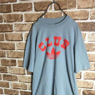 adidas - ビンテージが復刻! CLUB adidas デカロゴ Tシャツ グレー 赤 XS
