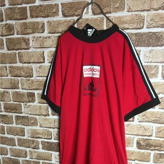 アディダス(adidas)のタグ付き 90s adidas サッカー BOXロゴ トリムTシャツ 赤黒白 L(Tシャツ/カットソー(半袖/袖なし))