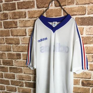 アディダス(adidas)のフランスカラー! 90s adidas メッシュ Tシャツ ゲームシャツ 白青赤(Tシャツ/カットソー(半袖/袖なし))