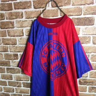 アディダス(adidas)のFCバイエルン! 80s adidas サッカー ユニフォーム ロゴ 赤青 M(Tシャツ/カットソー(半袖/袖なし))