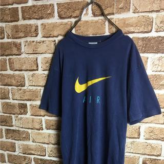 ナイキ(NIKE)のストリートに! 90s NIKE スウォッシュ デカロゴ Tシャツ ネイビー(Tシャツ(半袖/袖なし))