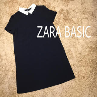 ZARA - ZARA BASIC ネイビー 白襟 ワンピース