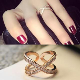 18金 メッキ ピンクゴールド クロスデザイン 上品 リング 指輪(リング(指輪))