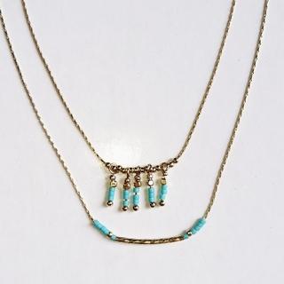 美品 2連ネックレス 薄めゴールド×ターコイズブルー(ネックレス)