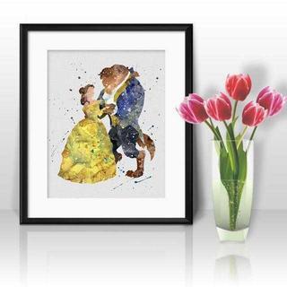 ディズニー(Disney)のベル&ビースト(美女と野獣)アートポスター【額縁付き・送料無料!】(ポスター)