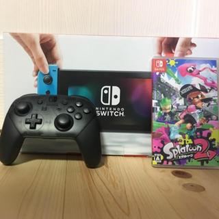 ニンテンドースイッチ(Nintendo Switch)のニンテンドースイッチ プロコン+スプラ2ソフト付き(家庭用ゲーム本体)