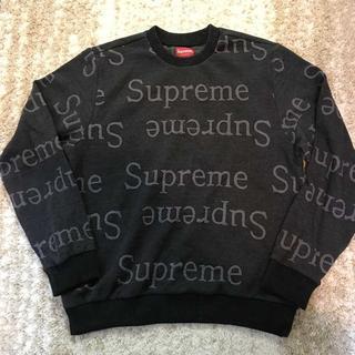 シュプリーム(Supreme)のSupreme Jacquard Logo Crewneck black M(スウェット)