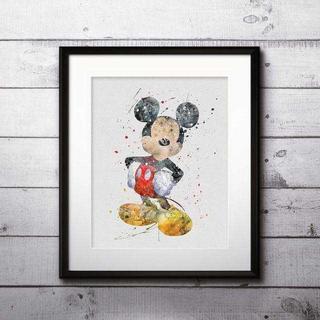ディズニー(Disney)の日本未発売!ミッキーマウス・アートポスター【額縁つき・送料無料!】(ポスター)