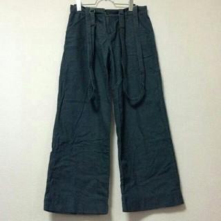 Decora ワイドパンツ 緑/グリーン 綿100% サスペンダー付(バギーパンツ)
