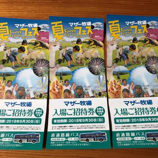 マザー牧場招待券1枚〜3枚(遊園地/テーマパーク)