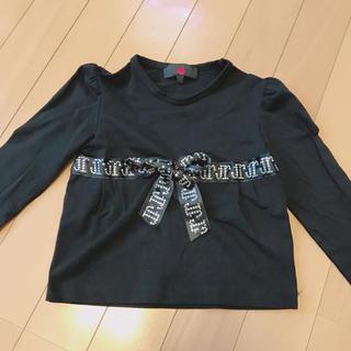 ジョンリッチモンド(JOHN RICHMOND)のRICHMOND カットソー  黒 女児服 子供服(Tシャツ/カットソー)
