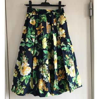 しまむら - 花柄スカート  ネイビー