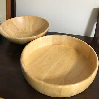MUJI (無印良品) - クレイト&バレル 木製 特大サラダボール2点
