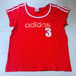 アディダス(adidas)のSale!adidas Tシャツ レディース  赤 ショート丈(Tシャツ(半袖/袖なし))