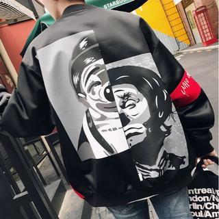 ♥大人気♥ 【ビッグサイズ】ピエロジャケット MA-1 ストリート系 黒/黒(ナイロンジャケット)