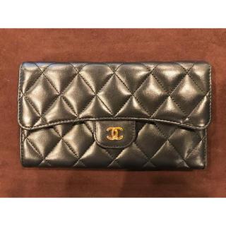 シャネル(CHANEL)のCHANEL シャネル マトラッセ ラムスキン 三つ折り財布 美品(財布)