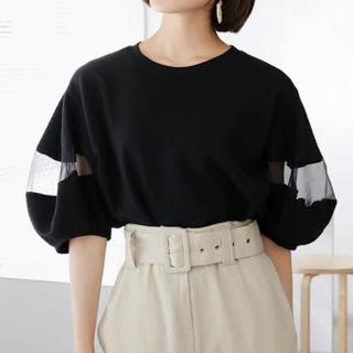 ディーホリック(dholic)の新品Dホリック シースルーパネルパフスリーブTシャツ(カットソー(半袖/袖なし))