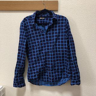 ジーユー(GU)の格子柄 長袖シャツ GU 青(シャツ)