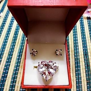 ♥ゴージャスセット♥ハートcz&ピアス セット(リング(指輪))