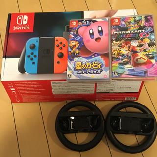 ニンテンドースイッチ(Nintendo Switch)の任天堂 switch本体 マリオカート8、星のカービィスターアライズ セット(家庭用ゲーム本体)
