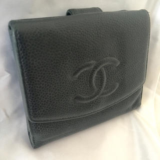 シャネル(CHANEL)のCHANEL シャネル 二つ折り財布 キャビアスキン ブラック(財布)