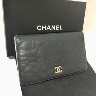 シャネル(CHANEL)のシャネル カメリア CCマーク 長財布 ブラック シリアル15番台 純正箱(財布)