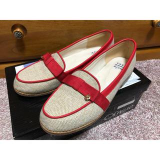 ジエンポリアム(THE EMPORIUM)のTHE EMPORIUM ジ エンポリアム麦わら地?赤リボンローファー25(ローファー/革靴)