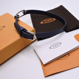 トッズ(TOD'S)のトッズ ブレスレット ネイビー×シルバー 美品 箱付き メンズ 2連 レザー (ブレスレット/バングル)