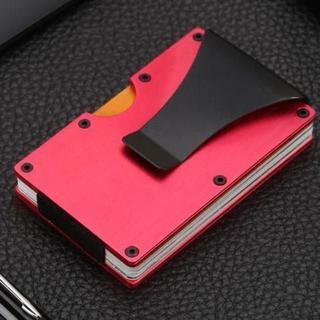 【レッド】RFID Blocking機能有り マネークリップ付きカードホルダー