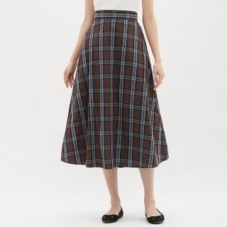 GU - GU チェックフレアロングスカート 茶色